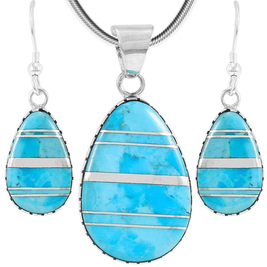 Sterling Silver with Genuine Turquoise Necklace & Earrings Set (SELECT COLOR)