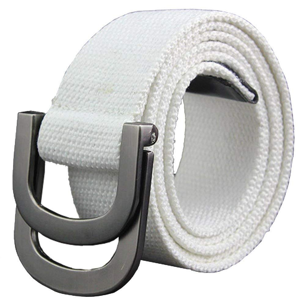 Mens Canvas Belt Black Double D Ring Buckle Womens No Hole Easy To Use Large Size