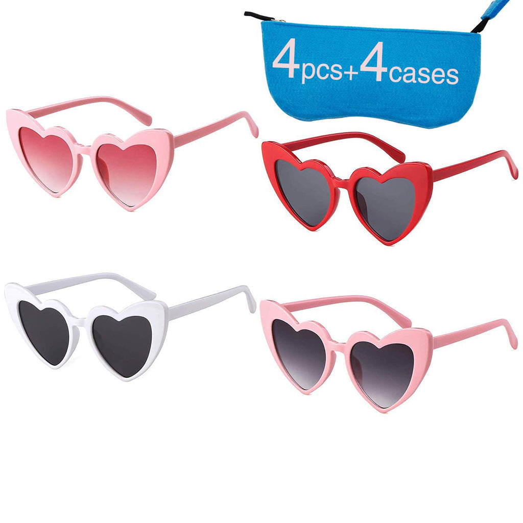 Retro Vintage Clout Goggle Heart Sunglasses Cat Eye Mod Style for Women Kurt Cobain Glasses Plastic Frame Mirrored Lens
