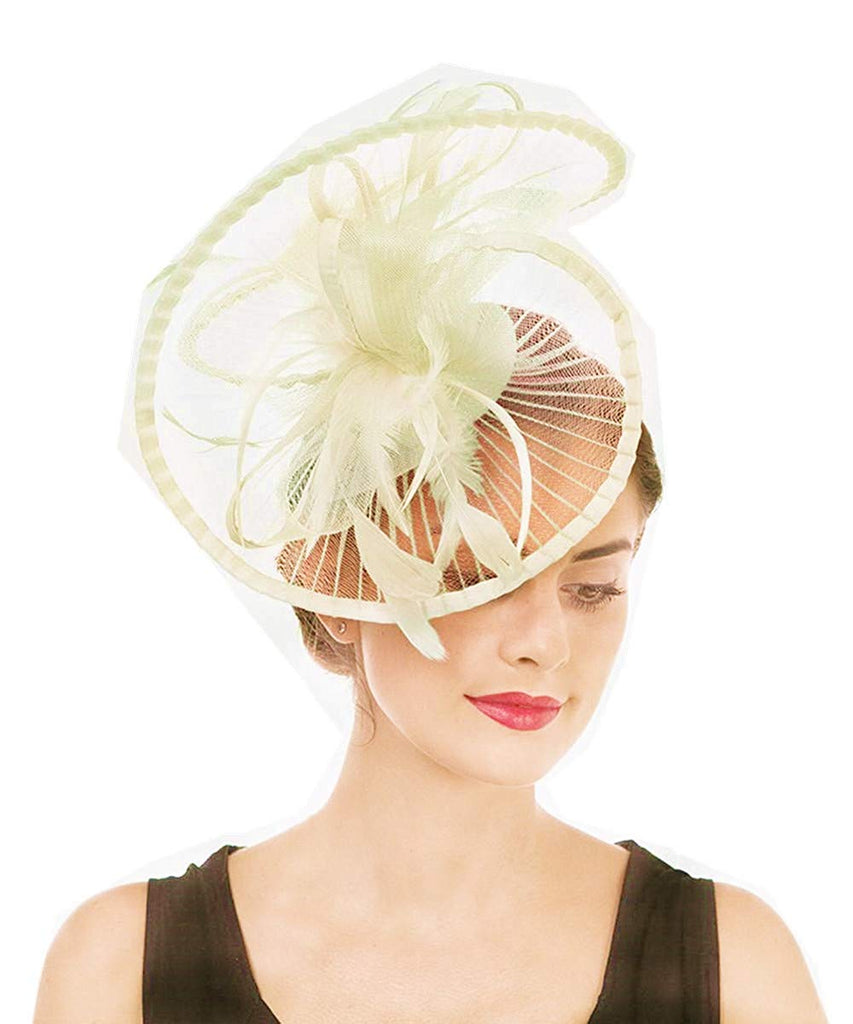 f104002cf93eb Lucky Leaf Women Girl Fascinators Hair Clip Hairpin Hat Feather Cocktail  Wedding Tea Party Hat