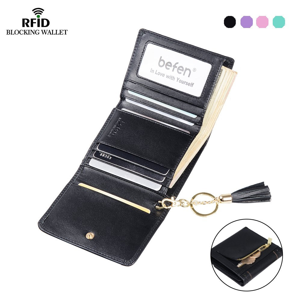 Befen Women's RFID Blocking Leather Trifold Wallet, Short Chic Hollow Out Tassel Hasp Zipper Purse, Ladies Money Clip