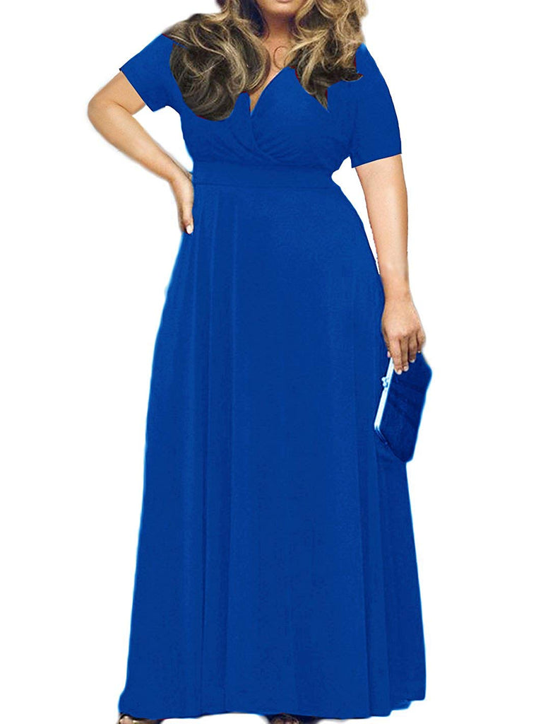 0cfd722ce96 POSESHE Women s Solid V-Neck 3 4 Sleeve Plus Size Evening Party Maxi Dress