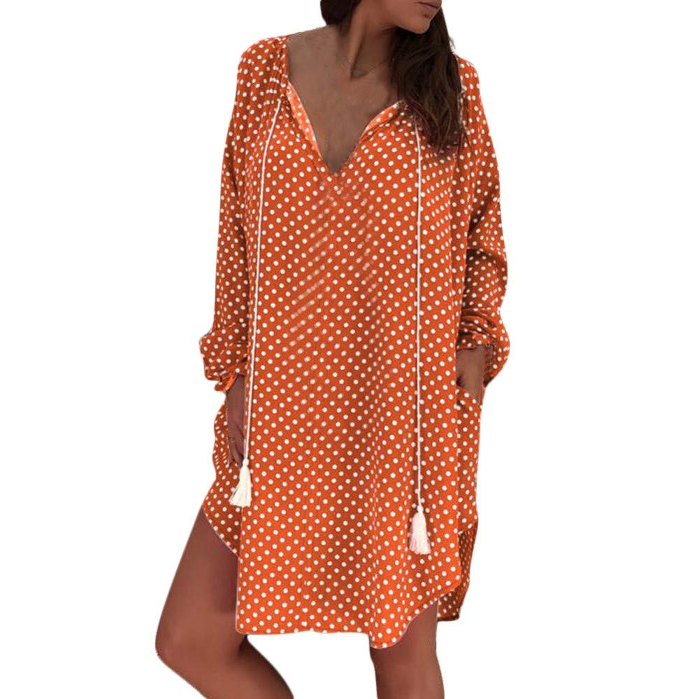 GIFC Women Sexy Polka Dot Print Loose Long Sleeves Dress, Fashion Ladies V-Neck Evening Party Mini Dress
