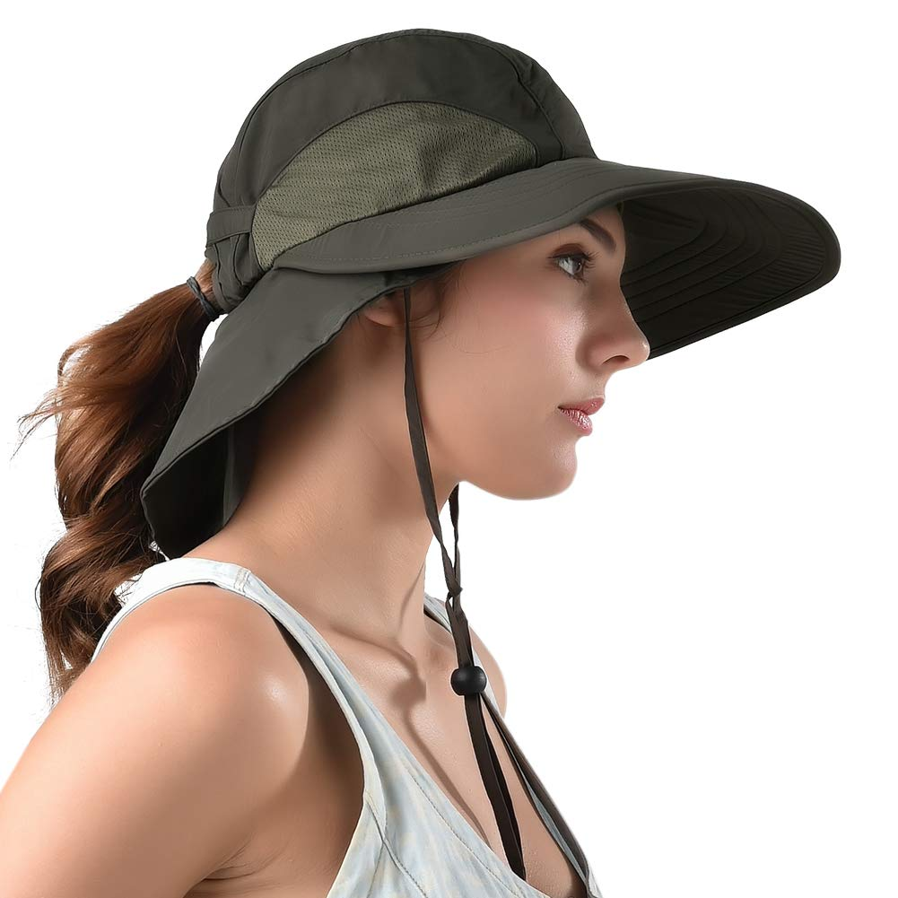 Camptrace Safari Sun Hat Wide Brim Fishing Hat with Neck Flap for Women Ponytail Packable UPS UPF 50+ for Hiking Camping