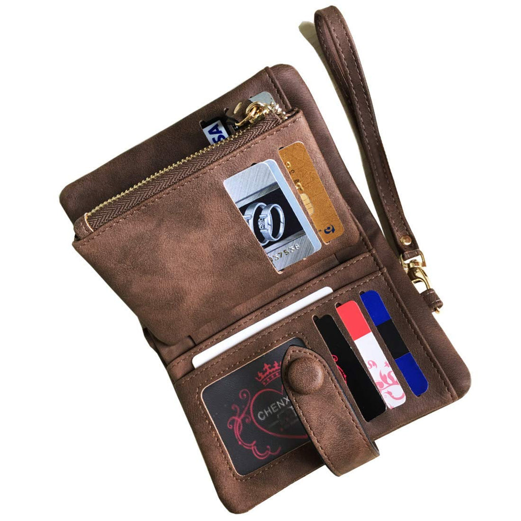 Women's Small Bifold Leather wallet Rfid blocking Ladies Wristlet with Card holder id window Coin Purse