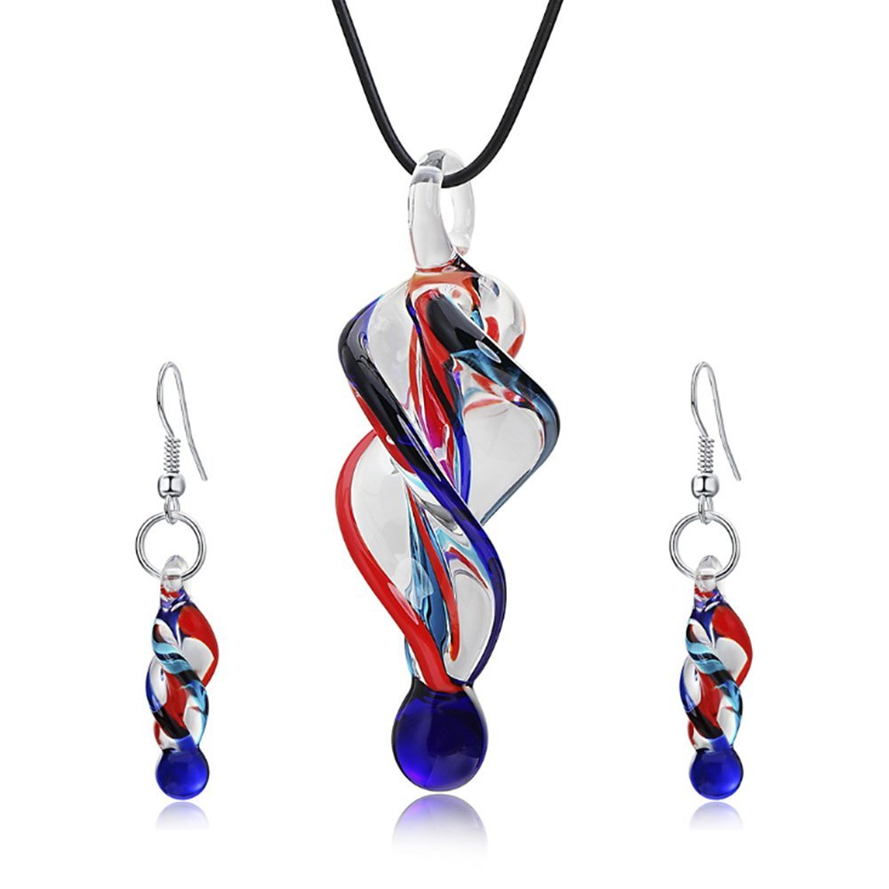 Jardme Jewelry Sets Screw-Type Murano Inspiration Mix Twisted Lampwork Glass Necklace