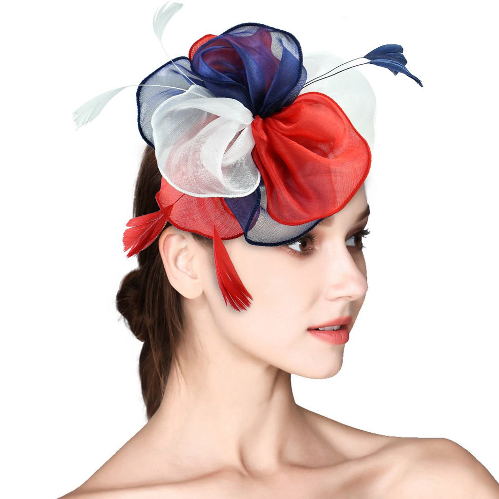 cc20158f38d1aa HOLDOOR Feather Fascinators Big Flower Fascinator Pillbox Hat Headband Clip  for Wedding Derby Party