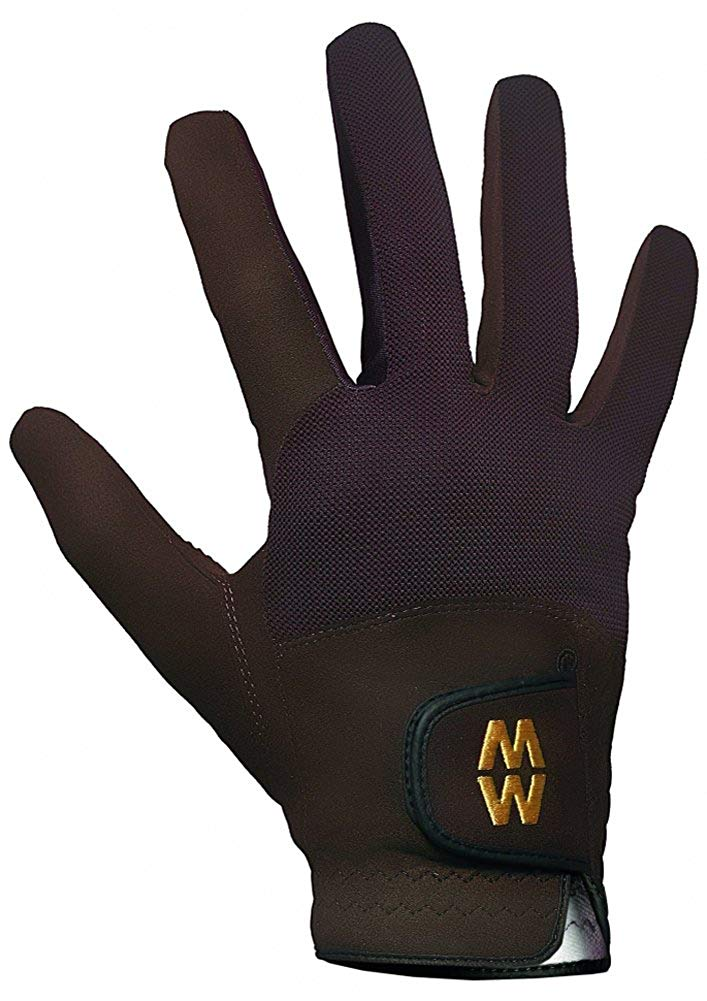 Macwet Men's & Women's 1 Pair Short Mesh Sports Gloves 9 Brown