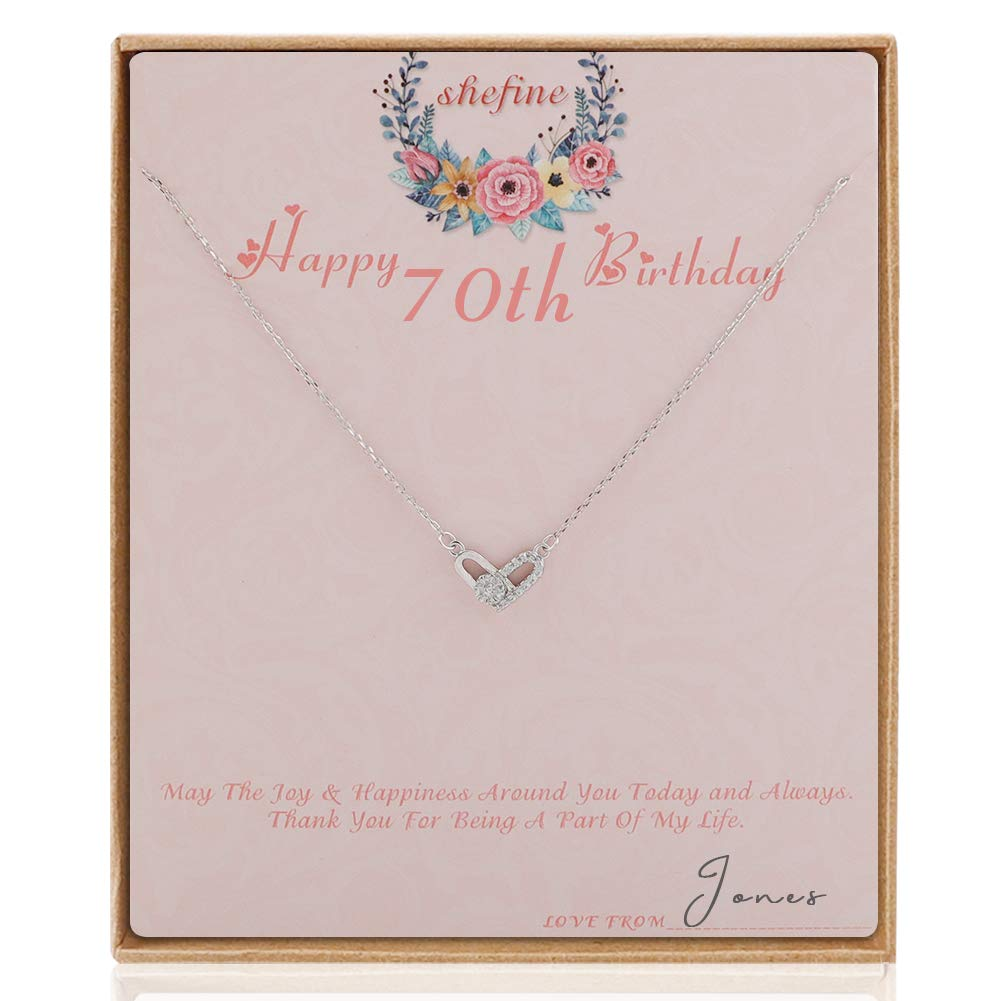 Shefine 70th Birthday Gifts For Women Deformable Heart Necklace Life Long Love Present Girls