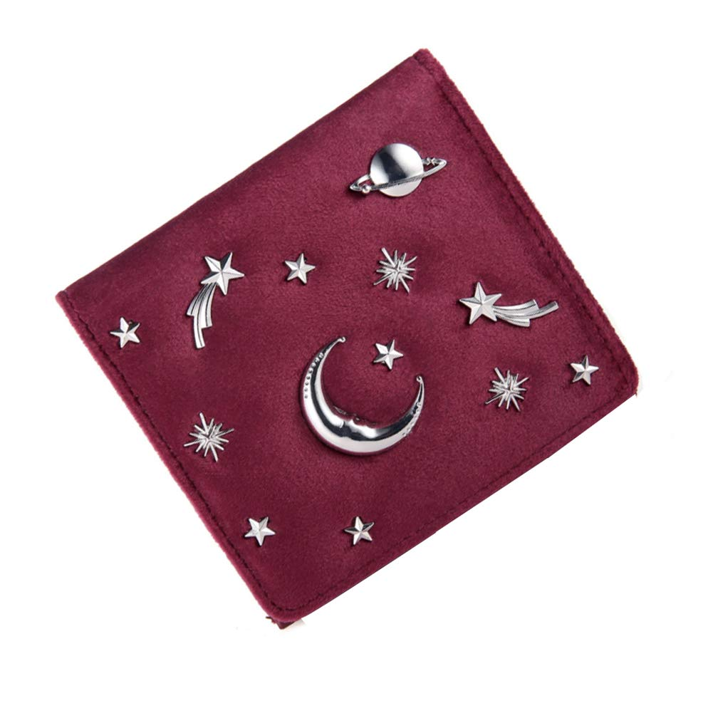 Women Velvet Starry Sky Bifold Wallet Card Holder Organizer Coin Purse with Hasp