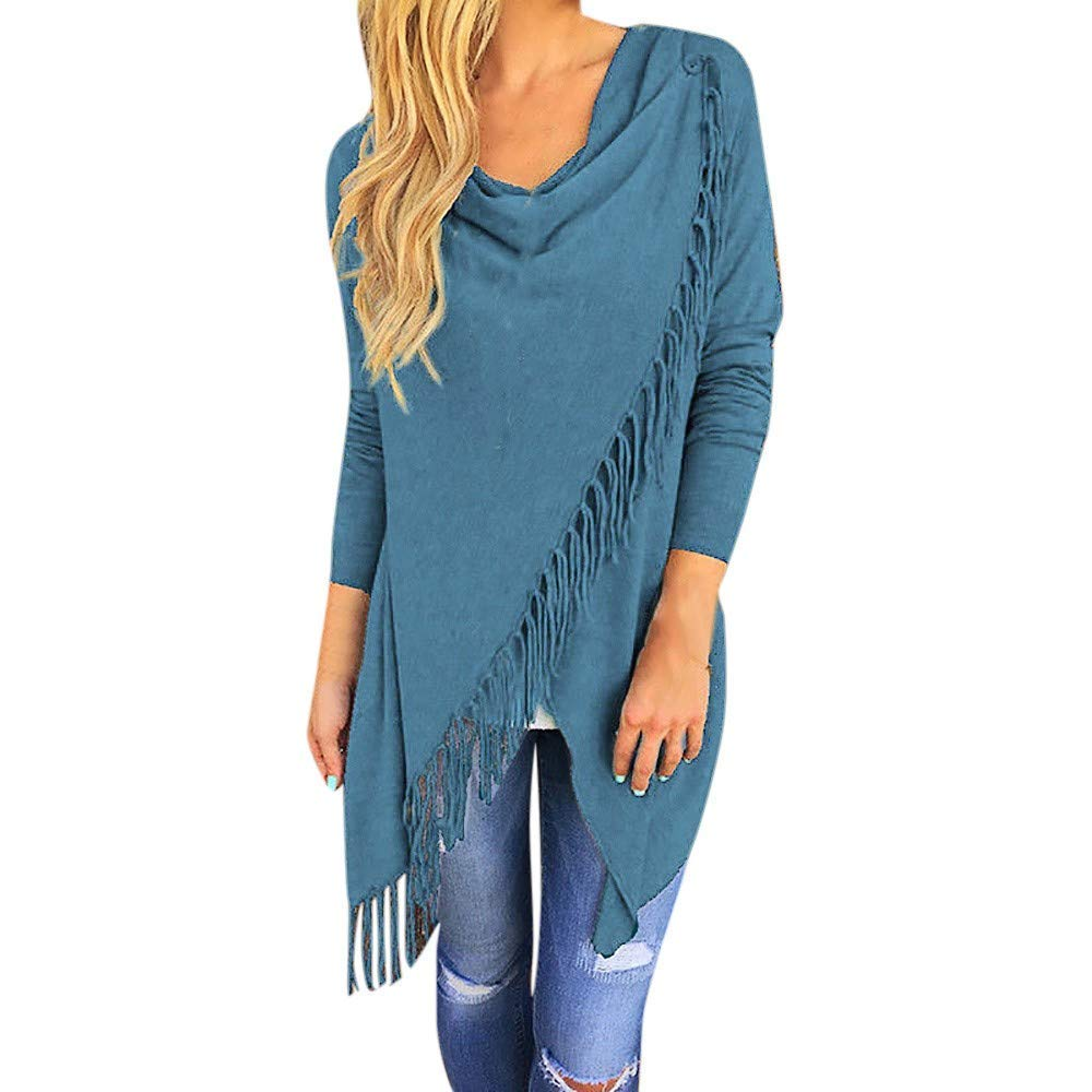 Women Tops Plus Size Loose Solid Long Sleeve Irregular Tassel Hem Blouse Pullover