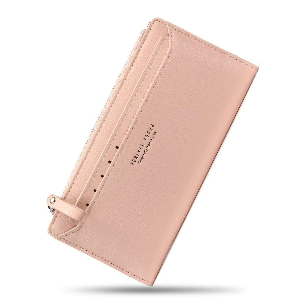 Women Wallet PU Leather Bifold Clutch Purse Ladier Multi Credit Card Holder Organizer with Removable Card Slot