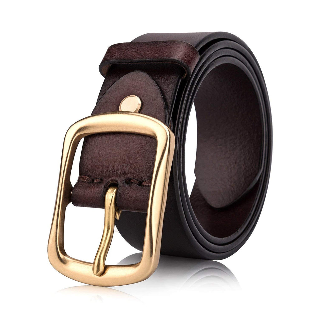 Men's Top Grain One Piece Leather Belt with Solid Brass Buckle,Packed in Gift Box