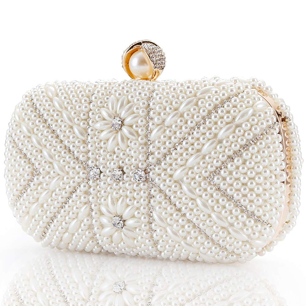 Womens Luxurius Clutch Evening Bags Full Beaded Artificial Pearls Rhinestone Handbag For Wedding Parites Prom