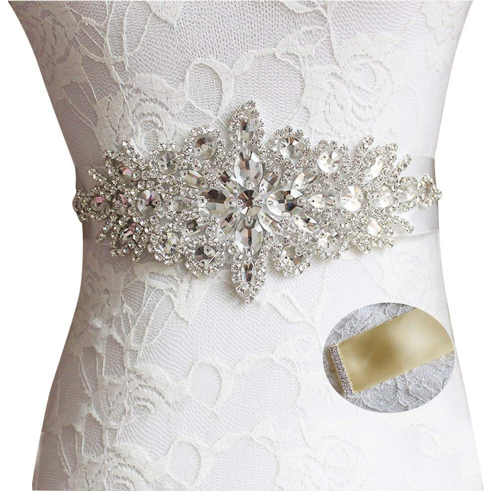 Idepy Women's Crystal Rhinestone Bridal Sash Wedding Belt with Long Ribbon for Bridesmaid Party Formal Evening Prom Dress