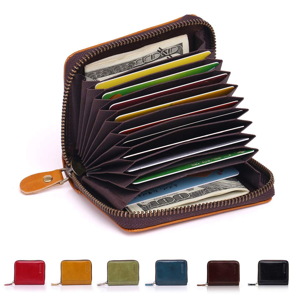 d8a7c4a92fa6 APHISON RFID Genuine Leather Credit Card Holder Wallet for Women Men ...