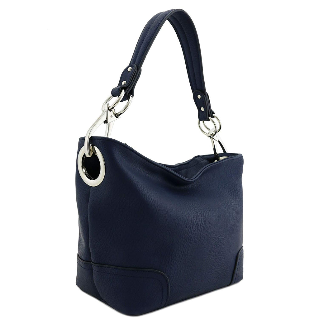 Hobo Shoulder Bag with Snap Hook Hardware Small