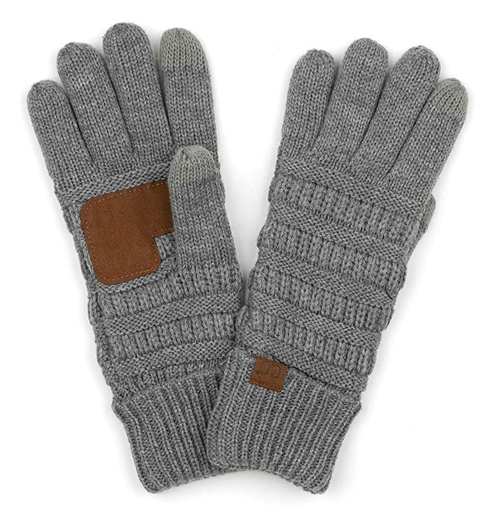 Funky Junque's CC Beanies Matching Winter Lined Warm Knit Touchscreen Texting Gloves