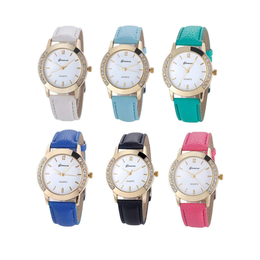 Geneva Fashion Women Watches Leather Rhinestone Inlaid Quartz Jelly Dress Wrist watch 6 Pcs Fiiliip(Mixed Color)