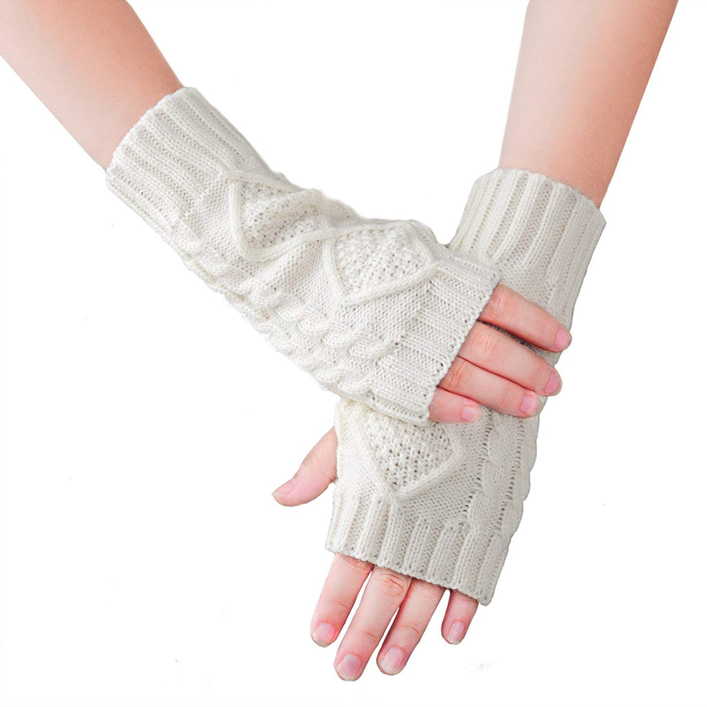 KUKOME Women Winter Fingerless Gloves Warm Knitted Hand Wrist Ladies New Warmer Mitten