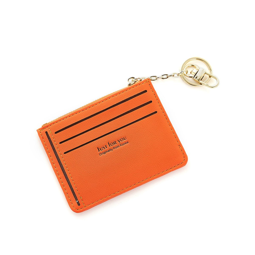 Slim Zip Leather Wallet Women Purse Card Sleeve Holder with Key Ring