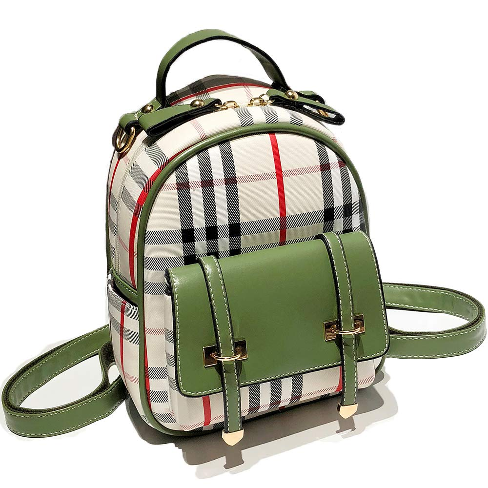 Gashen Women's Mini PU Leather Backpack Purse Casual Drawstring Daypack Convertible Shoulder Bag (Green Plaid)