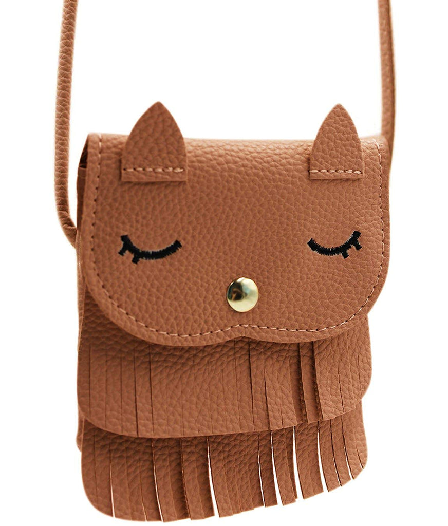 Amamcy Cat Tassel Shoulder Bag PU Leather Coin Purse Mini Crossbody Satchel Handbags for Kids Girls Toddler