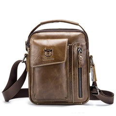 CHARMINER Men's Small Shoulder Bag, Genuine Leather Bag, Retro lightweight Cross Body Everyday Satchel Bag for Business Casual Sport Hiking Travel