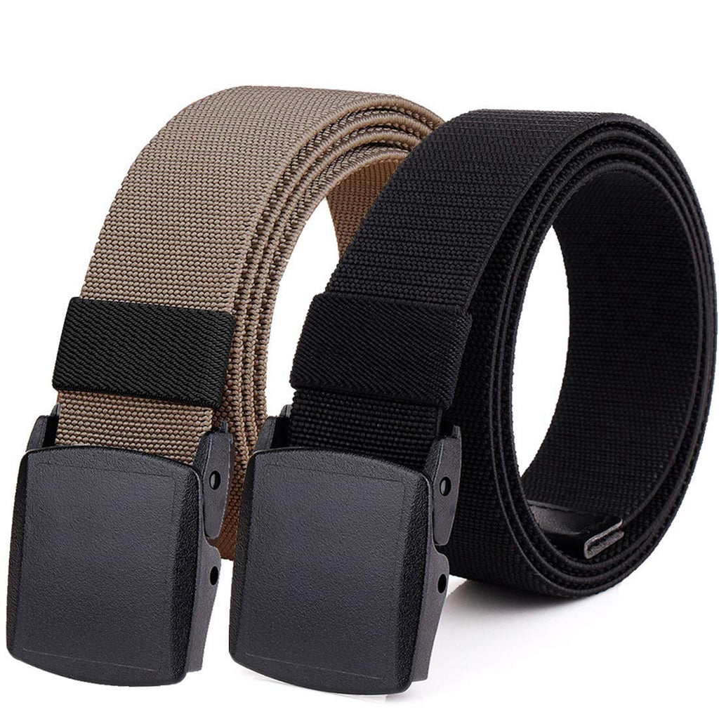 Hoanan 2-Pack Elastic Stretch Belt, Men's All Size No Metal Nylon Tactical Hiking Belt