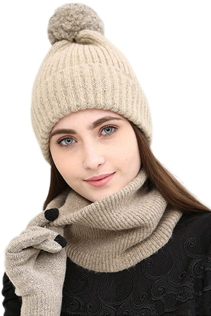 Women Ladies Knitted 3Pcs Beanie Hat Scarf Gloves Warm Winter Cheap Gifts Set