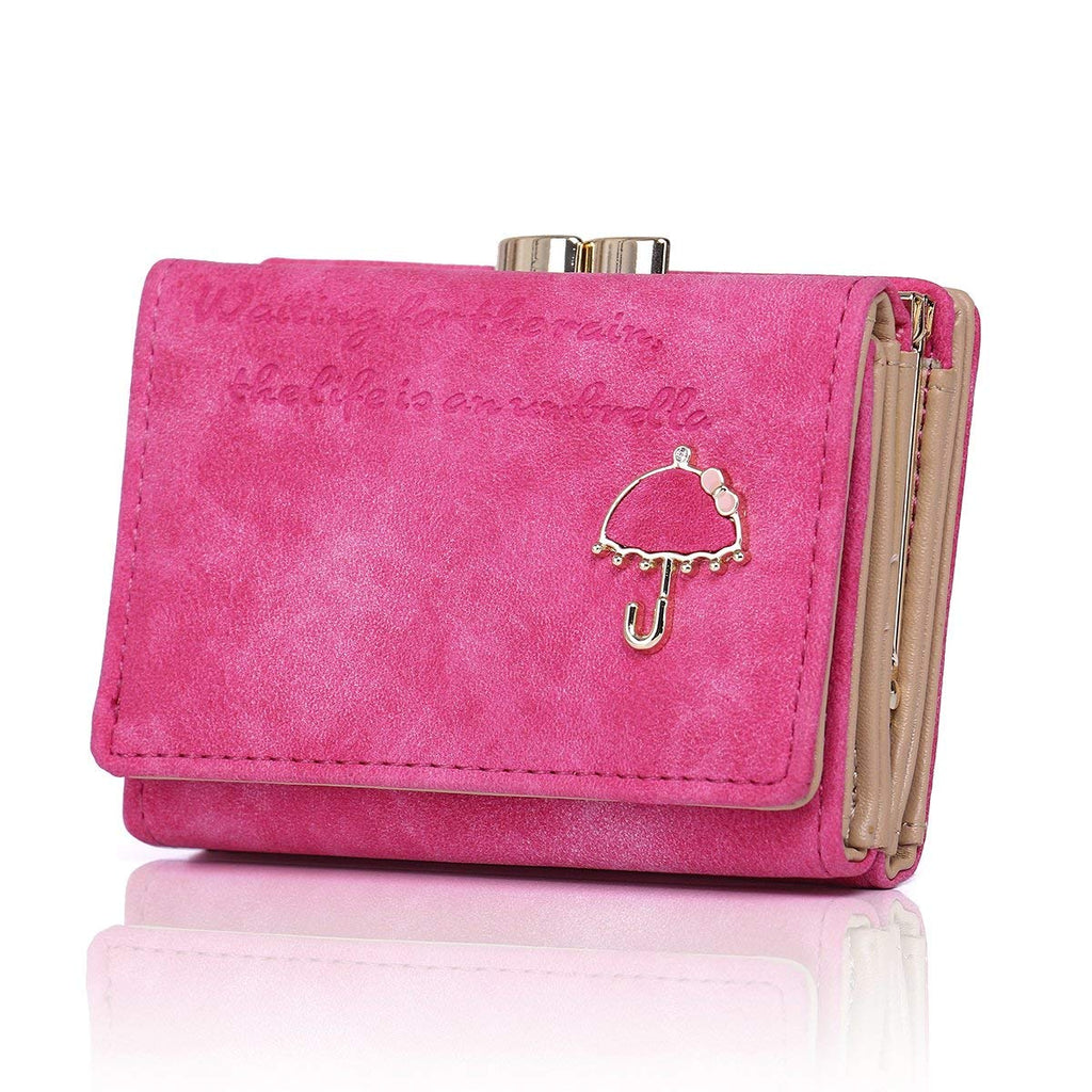Exquisite Buckle Coin Purses Colorful Umbrellas Pink Mini Wallet Key Card Holder Purse for Women