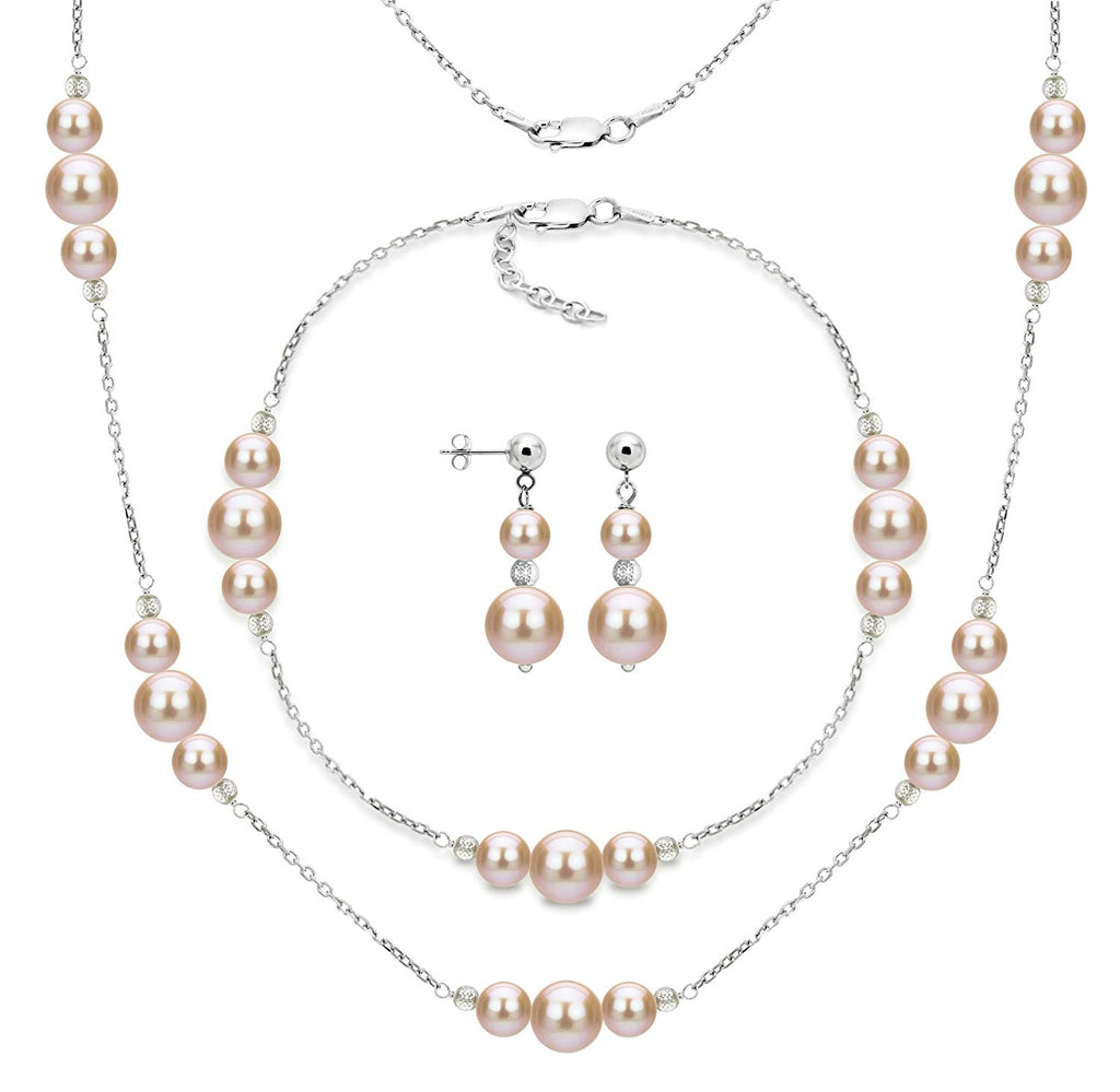 Sterling Silver 6mm and 10mm Pink Freshwater Cultured Pearl Station Necklace, Bracelet and Earrings Set