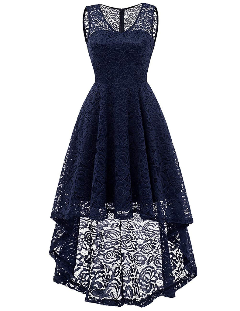 DRESSTELLS Women's Cocktail V-Neck Dress Floral Lace Hi-Lo Formal Swing Party Dress