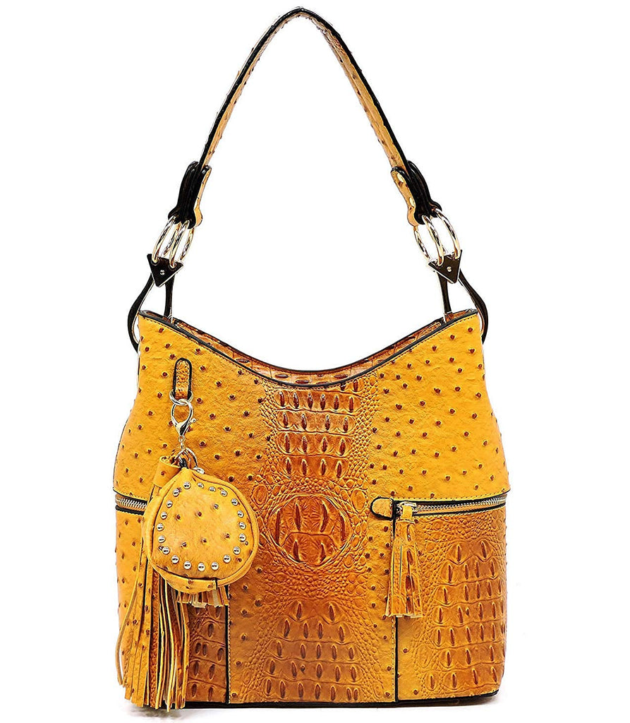 Alyssa Ostrich Embossed Side Pocket Hobo w/Coin Purse Key Chain Charm