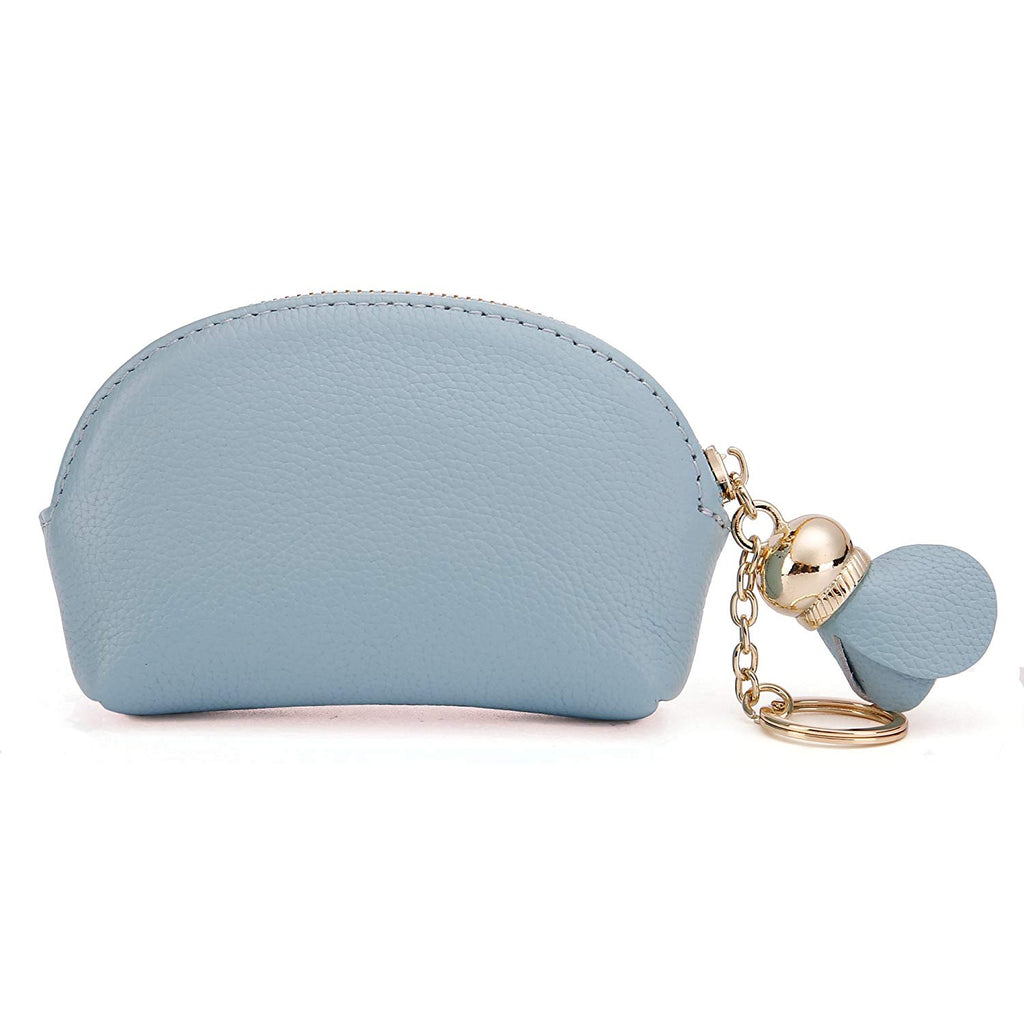 Coin Pouch Feathers Blue Canvas Coin Purse Cellphone Card Bag With Handle And Zipper