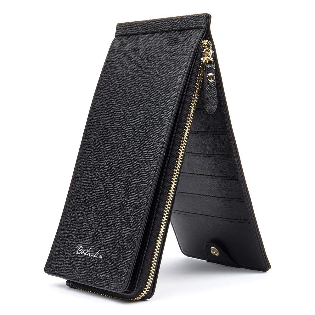 BOSTANTEN RFID Blocking Wallet Women Leather Credit Card Bifold Multi Wallet with Zipper Pocket