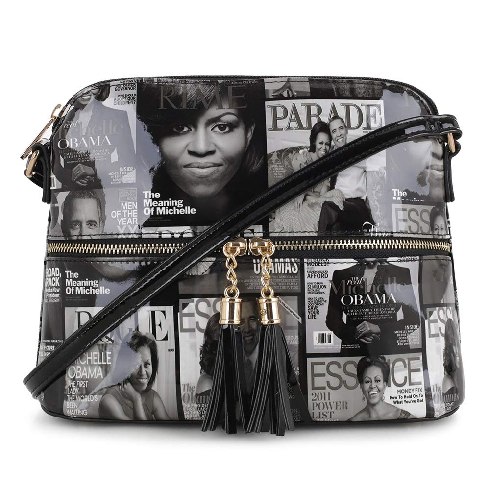 Glossy Magazine Cover Lightweight Medium Dome Crossbody Bag Michelle Obama Purse