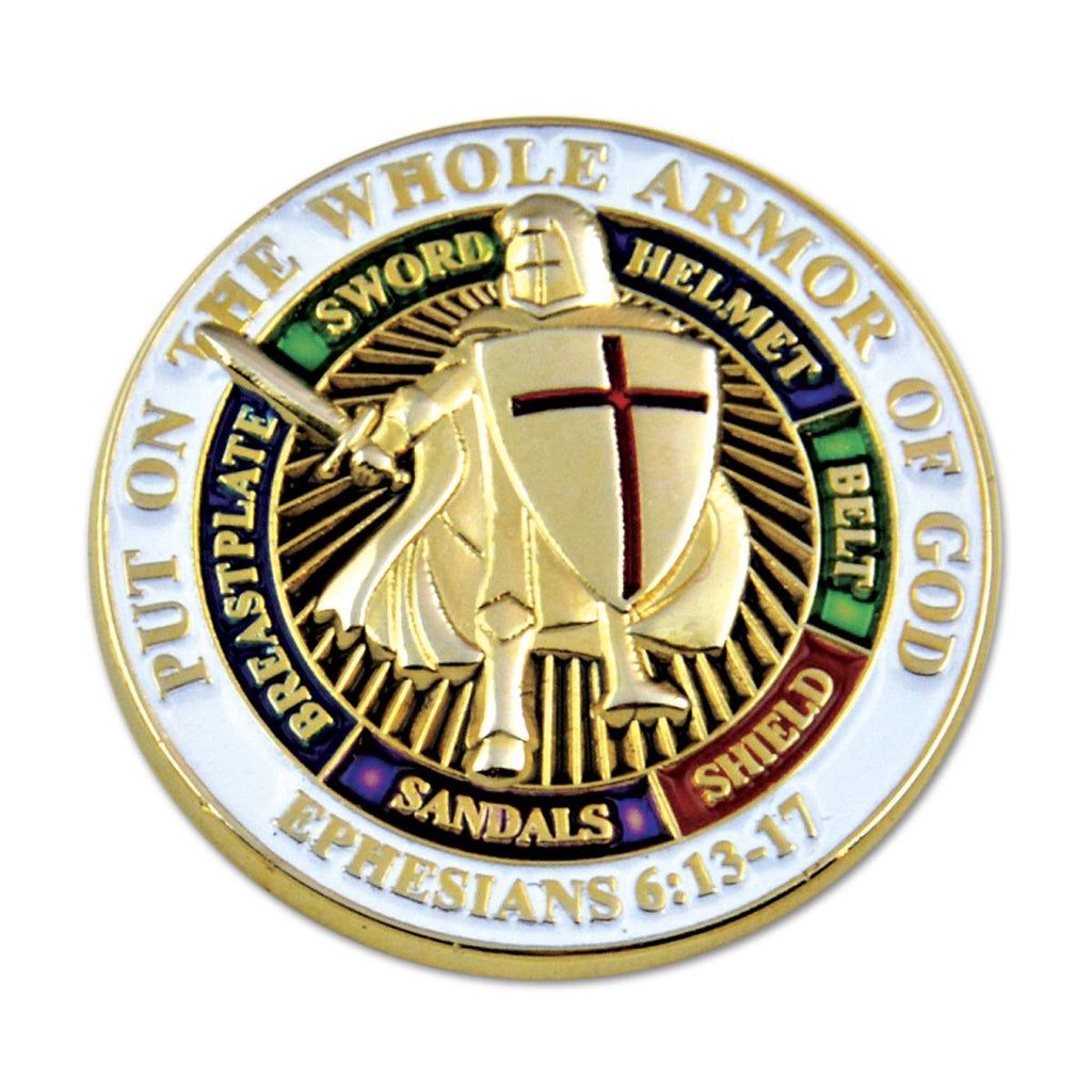 "Knights Templar Put on The Whole Armor of God Round White Masonic Lapel Pin - 1"" Diameter"