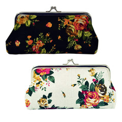 Oyachic 2 Packs Coin Purse Cell Phone Pouch Rose Pattern Clasp Closure Wallet 7.1