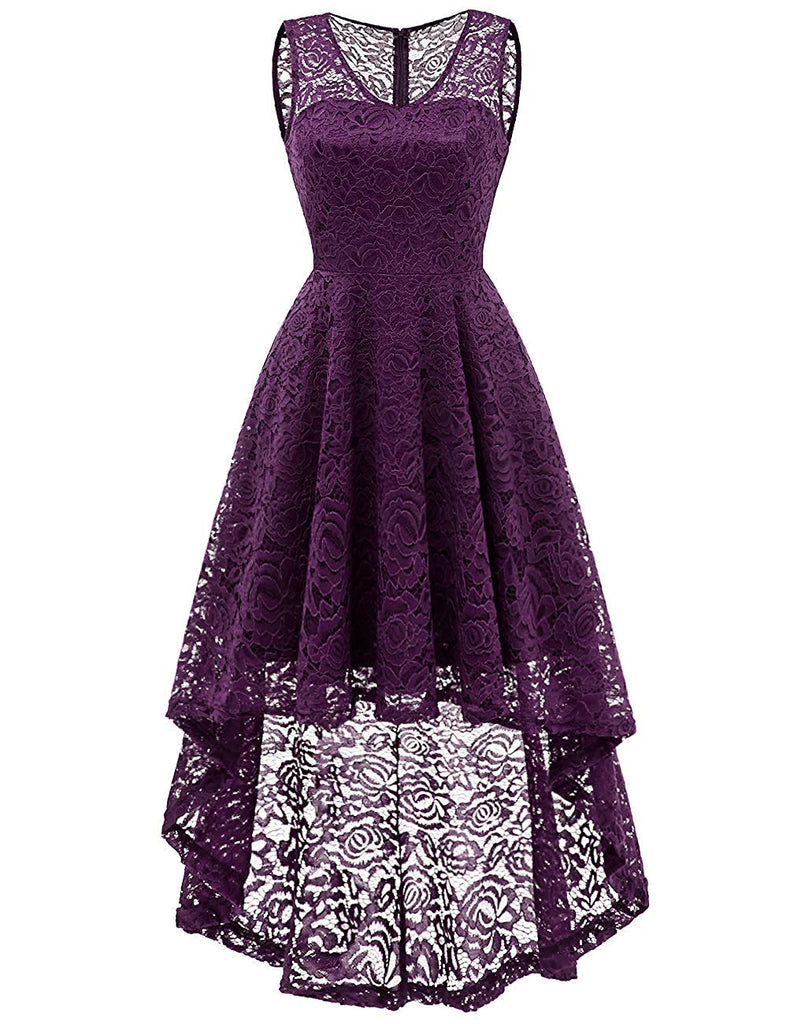 ba44cbfe4e1 ... DRESSTELLS Women's Cocktail V-Neck Dress Floral Lace Hi-Lo Formal Swing  Party Dress ...