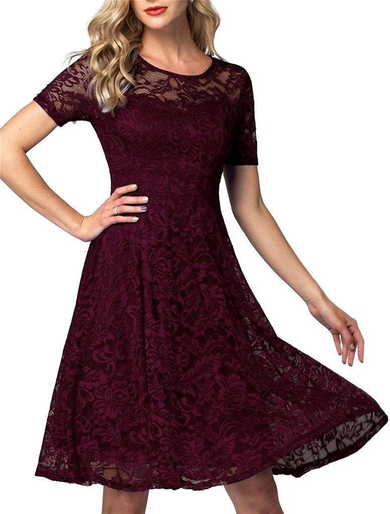 AONOUR Women's Vintage Floral Lace Elegant Cocktail Formal Swing Dress with Short Sleeve