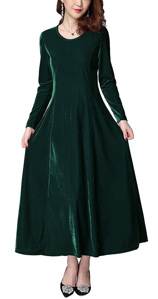 3c7d3c47370 Urban CoCo Women s Elegant Long Sleeve Ruched Velvet Stretchy Long Dress ...