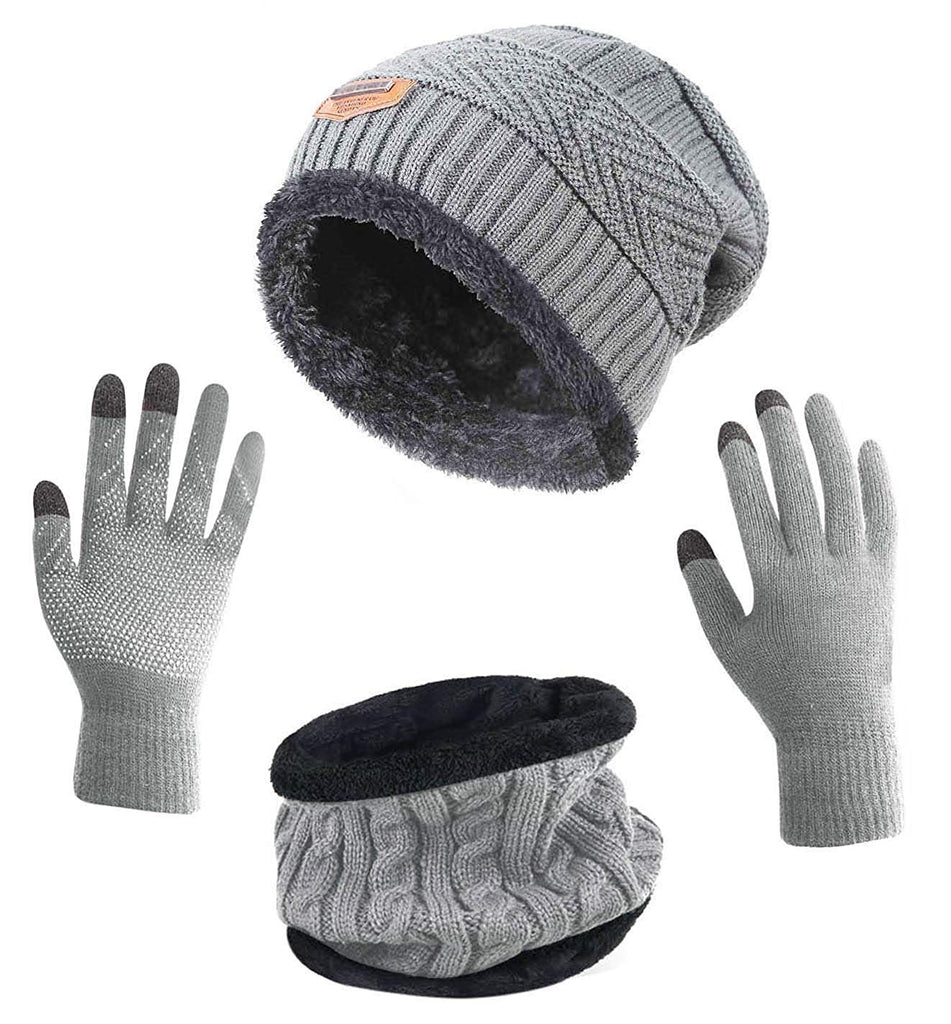 37e7f742df6 HindaWi Winter Slouchy Beanie Gloves for Women Knit Hats Skull Caps Touch  Screen