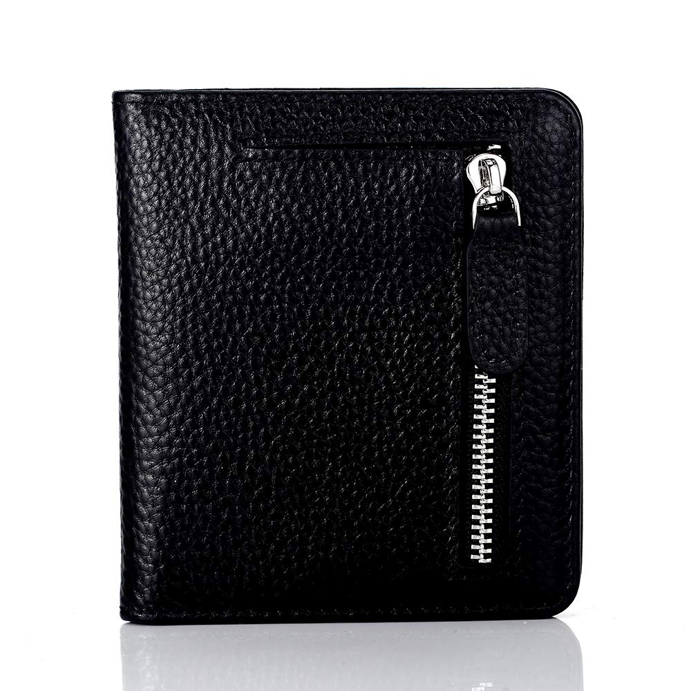 Ladies Purse Wallet Small Compact Size Black with Coin Pocket RFID Protected