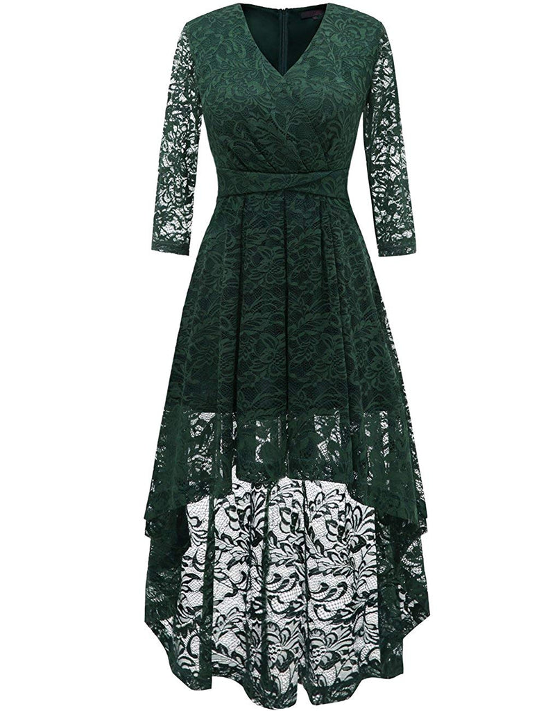 DRESSTELLS Women's Bridesmaid Dress Hi-Lo Floral Lace Cocktail Party Swing Dress