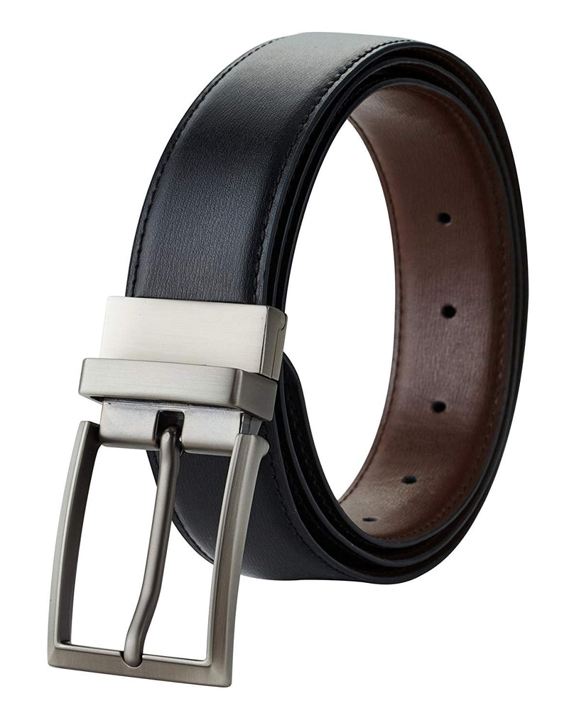 "Travelambo Mens Dress Belt Genuine Leather Reversible 1.25"" Wide Rotated Buckle Gift Box"