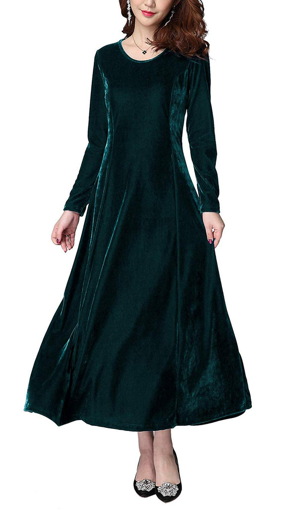 7b4c2f5f9c8 ... Urban CoCo Women s Elegant Long Sleeve Ruched Velvet Stretchy Long  Dress ...