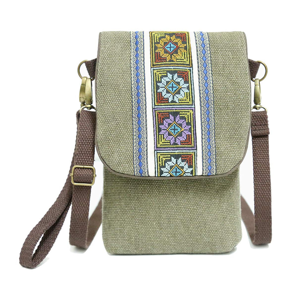 9d5666d77c48 Vintage Embroidered Canvas Small Flip Crossbody Bag Cell Phone Pouch for  Women Wristlet Wallet Bag Coin