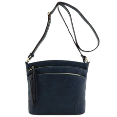 Triple Zip Pocket Medium Crossbody Bag