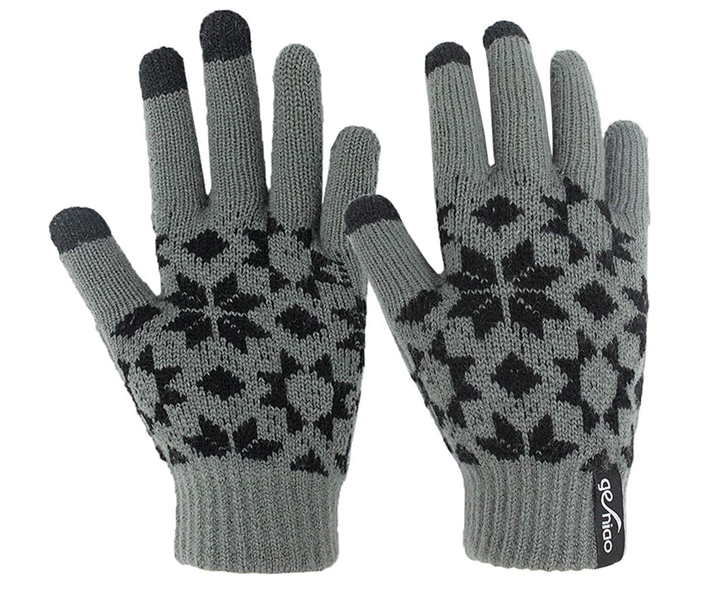 Holly Knitted Jacquard Touchscreen Gloves for Smartphones & Tablets, Small, Medium and Large